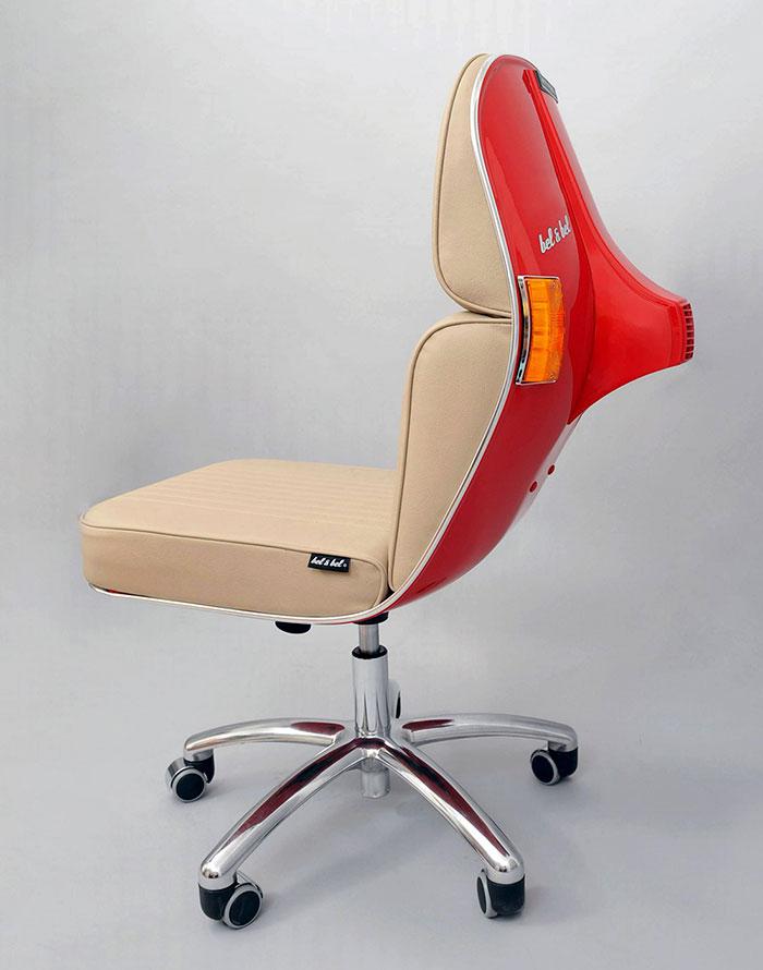 Stary Vespas przemieniony w nowoczesne krzeslo biurowe10