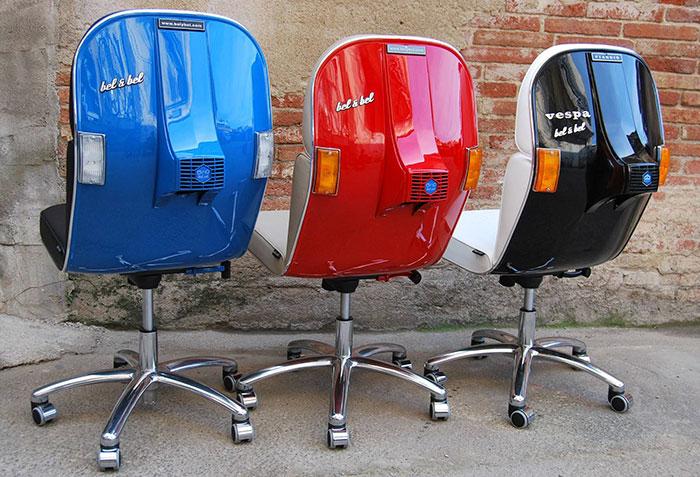 Stary Vespas przemieniony w nowoczesne krzeslo biurowe11