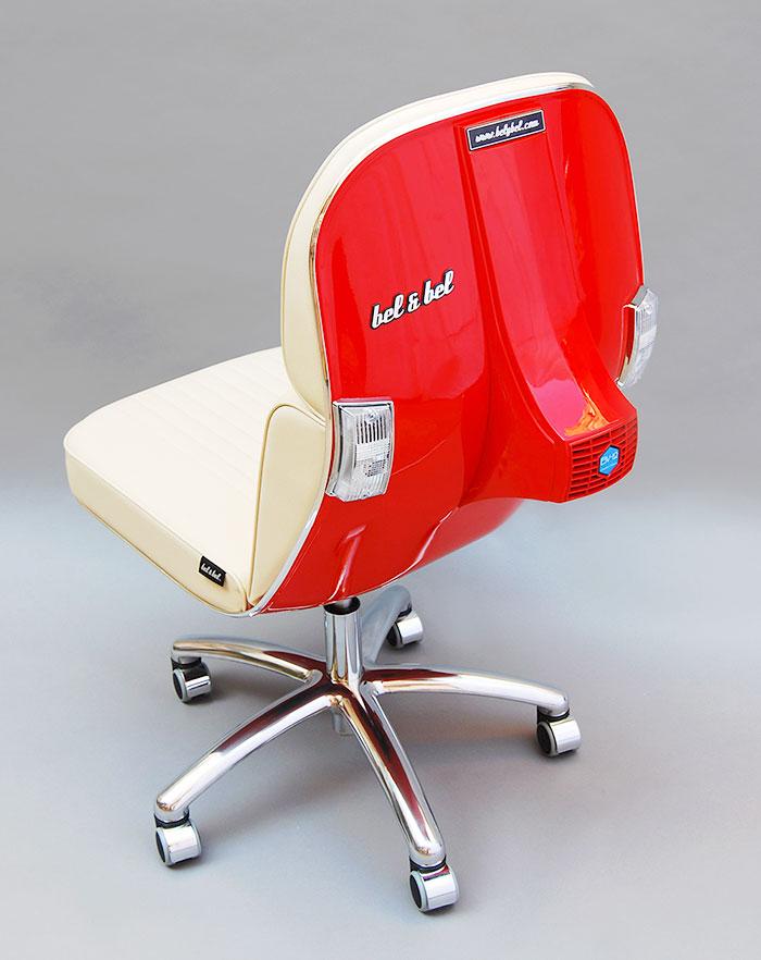 Stary Vespas przemieniony w nowoczesne krzeslo biurowe2