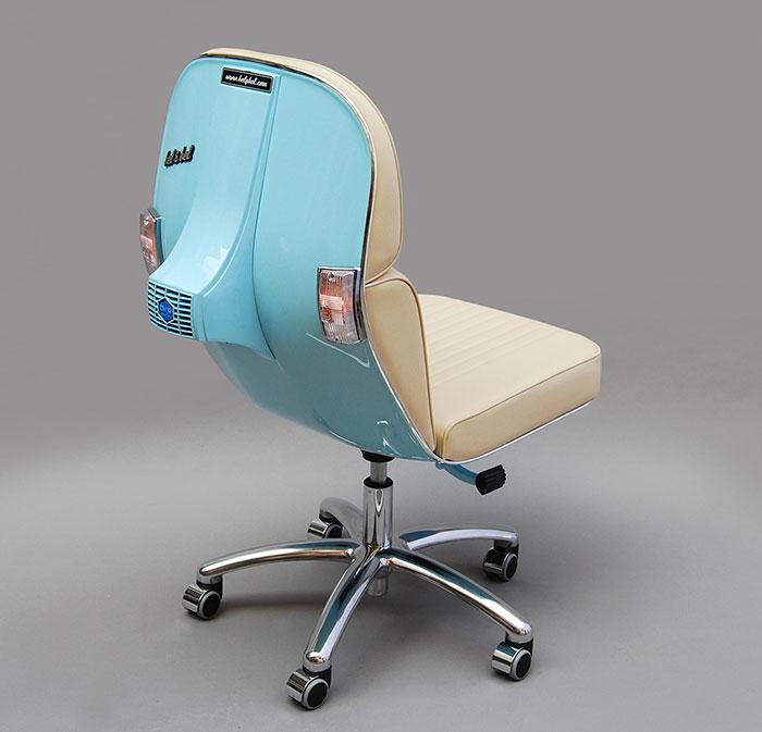 Stary Vespas przemieniony w nowoczesne krzeslo biurowe3