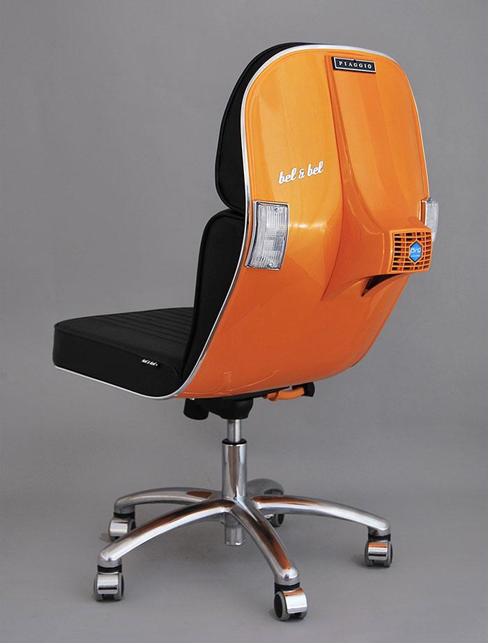 Stary Vespas przemieniony w nowoczesne krzeslo biurowe8