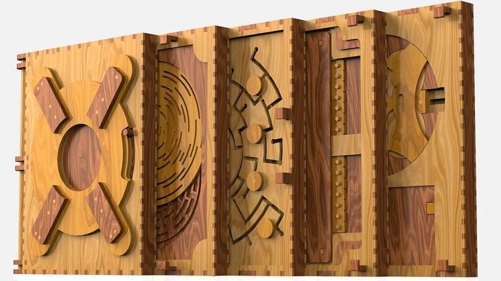 Codex Silenda drewniana ksiazka z łamiglowkami